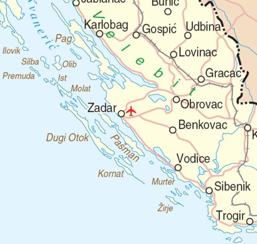 kaart regio zadar